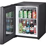 Syntrox Germany 52 Liter Null DB-lautloser Mini Kühlschrank mit Glastür geräuchloser Hotelkühlschrank